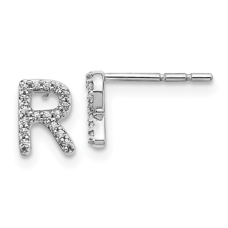 Quality Gold 14k White Gold Diamond Initial R Earrings