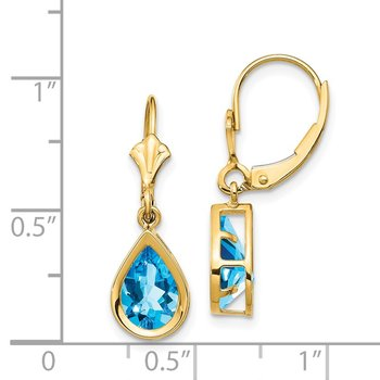 14k 9x6mm Pear Blue Topaz Leverback Earrings