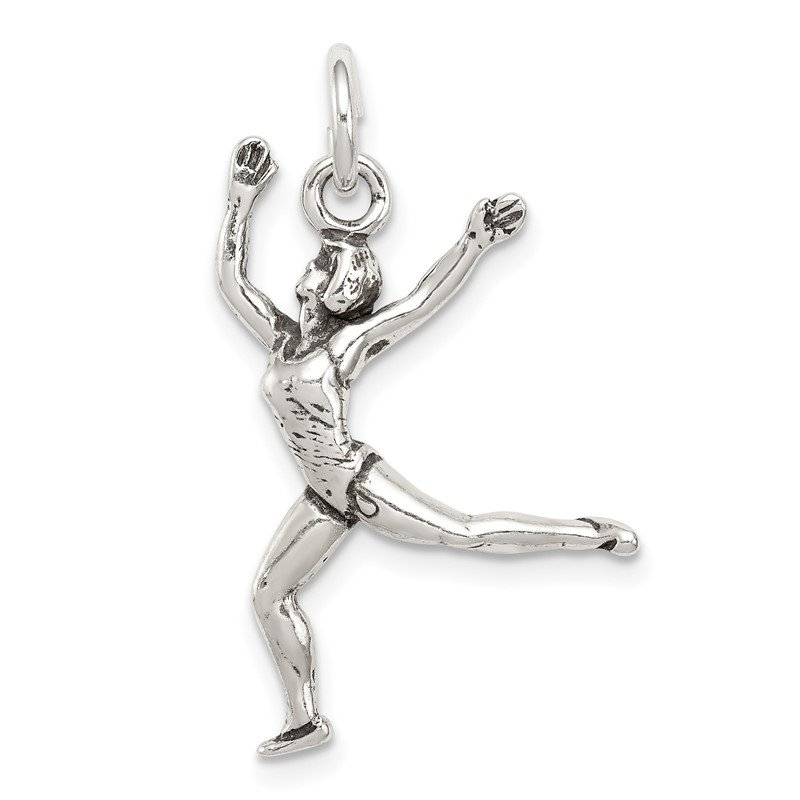 Quality Gold Sterling Silver Antiqued Ballet Dancer Charm