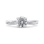 Carizza 14K White Gold Round Diamond Engagement Ring with Criss-Cross Shank (Semi-Mount)