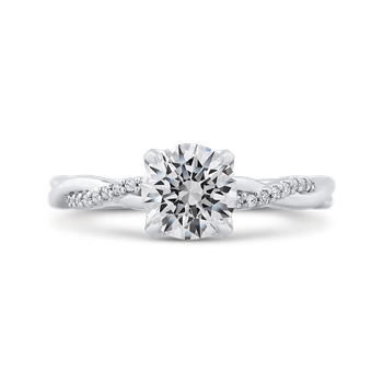 14K White Gold Round Diamond Engagement Ring with Criss-Cross Shank (Semi-Mount)
