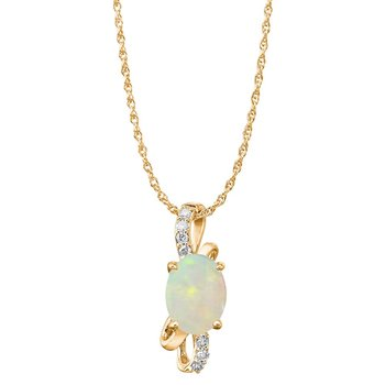 Yellow Gold Opal & Diamond Pendant