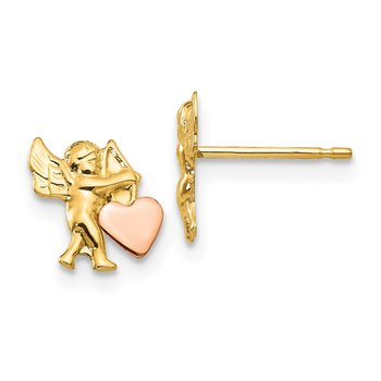 14k Madi K Polished & Rhodium Cupid Heart Post Earrings
