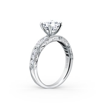 Engraved Artful Diamond Solitare Engagement Ring