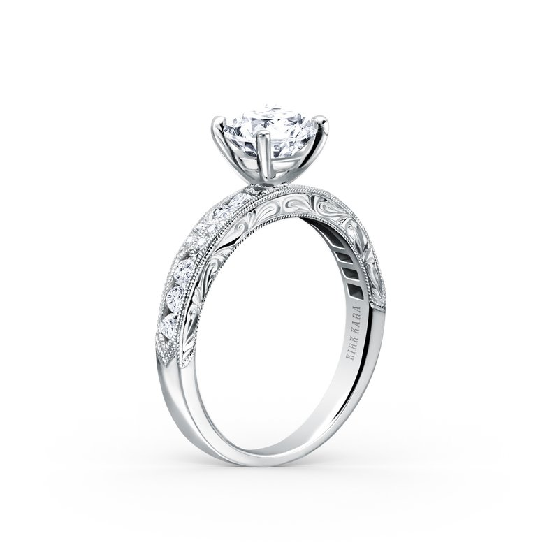 Kirk Kara Engraved Artful Diamond Solitare Engagement Ring