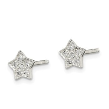Sterling Silver CZ Star Post Earrings