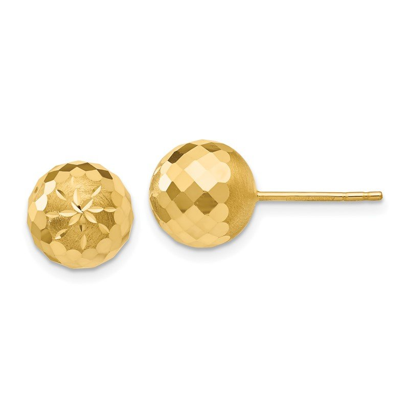 Quality Gold 14k 9mm Diamond-cut Mirror Ball Post Earrings