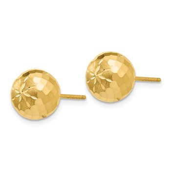 14k 9mm Diamond-cut Mirror Ball Post Earrings