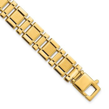 14k Men's Brushed and Polished Link 8.5in Bracelet