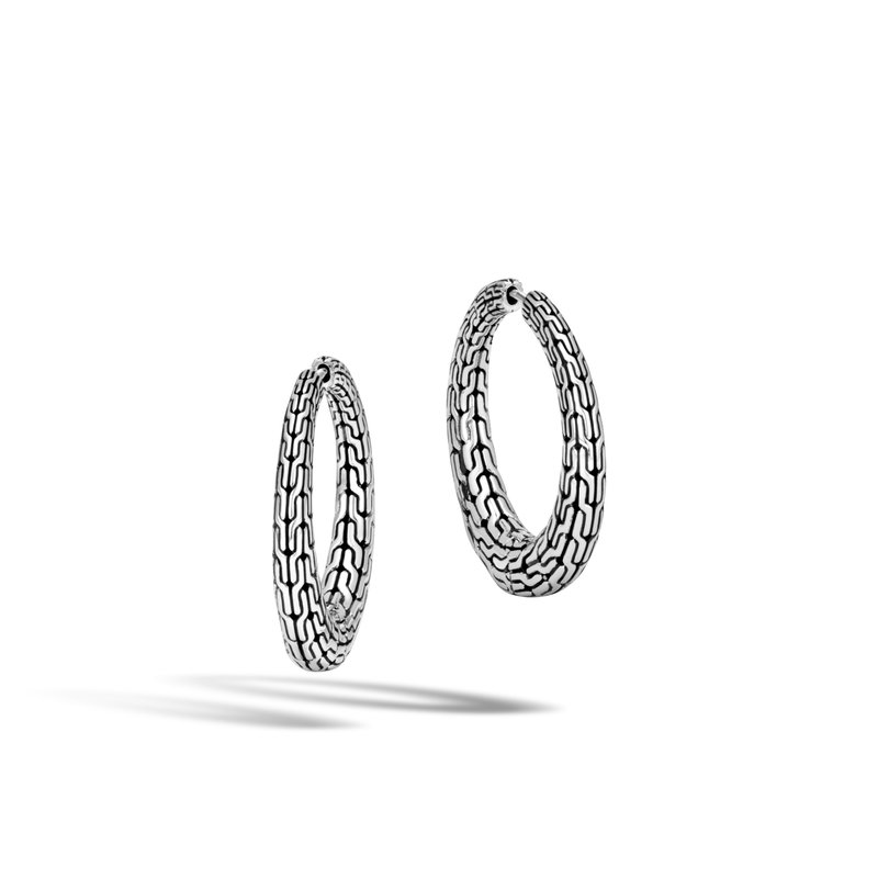 JOHN HARDY Classic Chain Graduated Small Hoop Earring in Silver