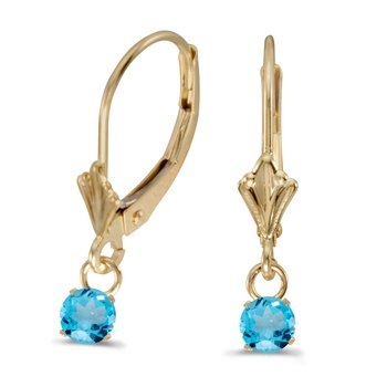 10k Yellow Gold 5mm Round Genuine Blue Topaz Lever-back Earrings