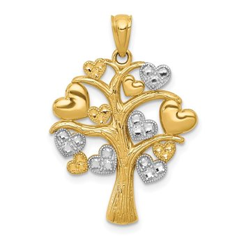 14K and White Rhodium Polished Hearts Tree Pendant