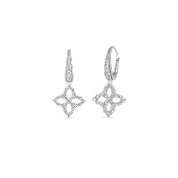 18K WHITE DIAMOND MEDIUM FLOWER DROP EARRING