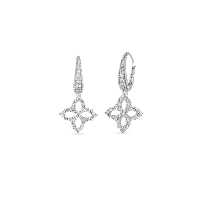 Roberto Coin 18K WHITE DIAMOND MEDIUM FLOWER DROP EARRING