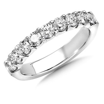 Prong set Round Diamond Wedding Band 14k White Gold (1/3ct. tw.)