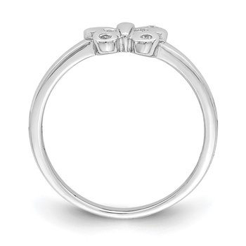 Sterling Silver Rhodium-plated Childs CZ Butterfly Ring