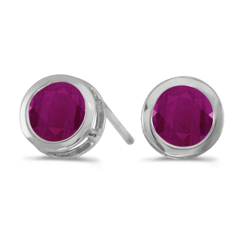 Color Merchants 14k White Gold Round Ruby Bezel Stud Earrings