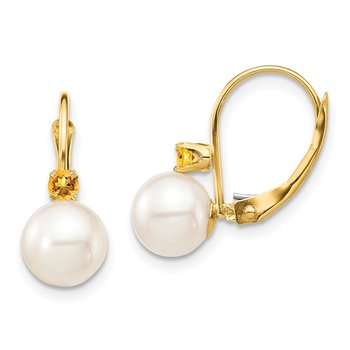 14K 7-7.5mm White Round FWC Pearl Citrine Leverback Earrings