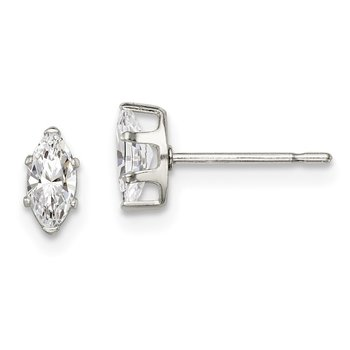 Sterling Silver 6x3 Marquise Snap Set CZ Stud Earrings