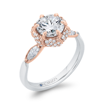 18K Two-Tone Gold Round Diamond Engagement Ring with Milgrain (Semi-Mount)