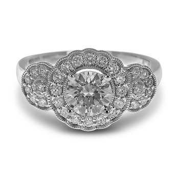 14K WG Diamond Tri Flower Design Scallop and Milgrained Edge Engagement Ring in Prong and Pave Setting