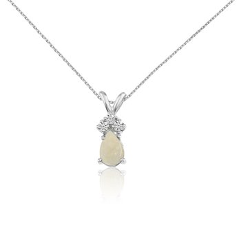 14k White Gold Opal Pear Pendant with Diamonds