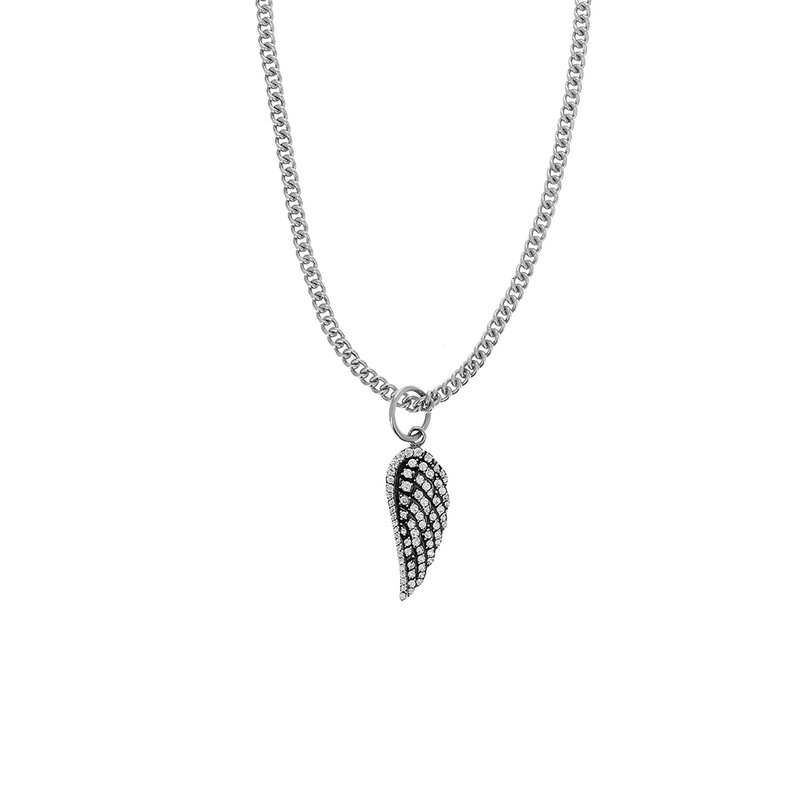 King Baby Medium Wing Pendant W/ Pave Cz On 18' Curb Link Chain