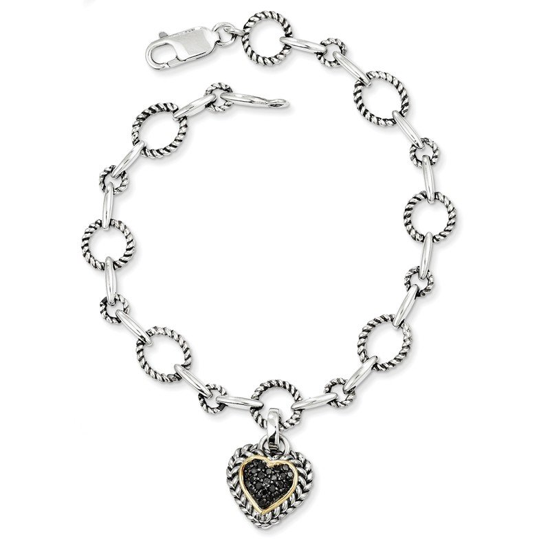 Shey Couture Sterling Silver w/14k Black Diamond Heart Link Bracelet