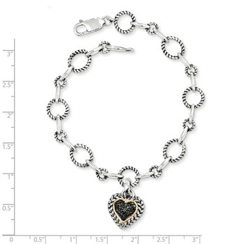 Sterling Silver w/14k Black Diamond Heart Link Bracelet