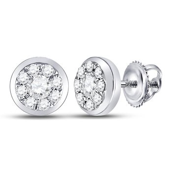 14kt White Gold Womens Round Diamond Solitaire Circle Frame Stud Earrings 1/4 Cttw
