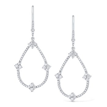 Diamond Pear Shaped Frame Earrings Set in 14 Kt. Gold