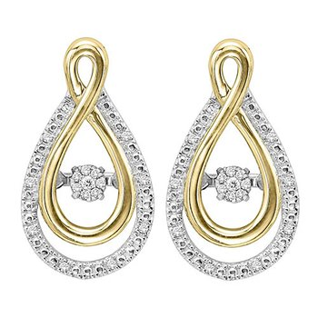 Silver & 10K Gold Diamond Rhythm Of Love Earrings
