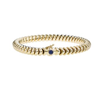 14K Gold Polished Link with Sapphire Bracelet