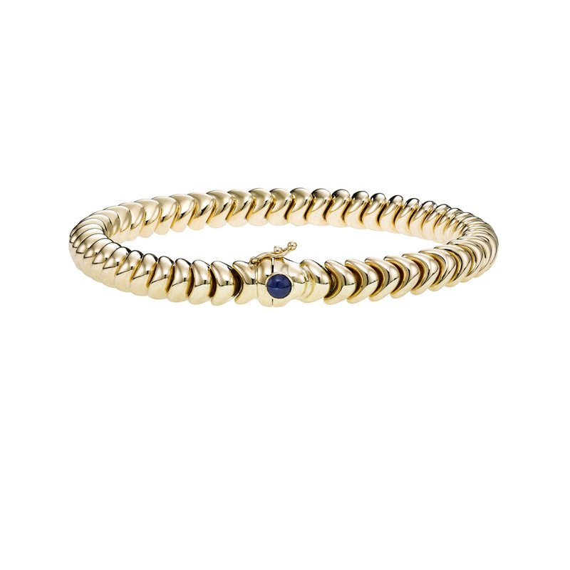 Royal Chain 14K Gold Polished Link with Sapphire Bracelet