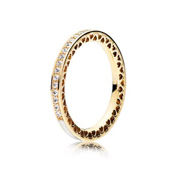 Radiant Hearts Of Pandora Ring, 14K Gold Clear Cz