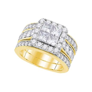 14k Yellow Gold Womens Princess Diamond Bridal Wedding Engagement Ring Band Set 3.00 Cttw