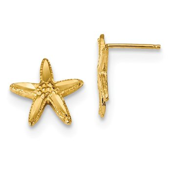14k Polished Textured Diamond-cut Starfish Post Earrings