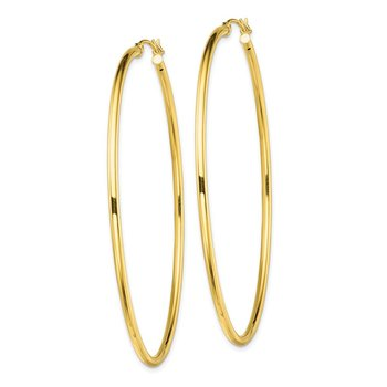 Sterling Silver Gold-Tone Polished 2x65mm Hoop Earrings
