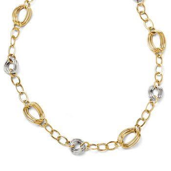 Leslie's 14K Two-tone Polished and Textured w/2in ext. Necklace