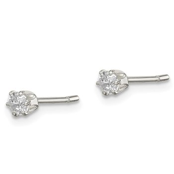 Sterling Silver Polished 3mm CZ Post Earrings