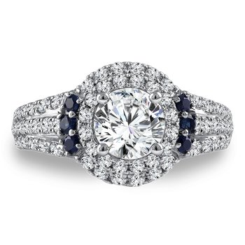 Diamond & Blue Sapphire Halo Engagement Ring Mounting in 14K White Gold with Platinum Head (.76 ct. tw.)