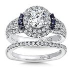 Caro74 Diamond & Blue Sapphire Halo Engagement Ring Mounting in 14K White Gold with Platinum Head (.76 ct. tw.)