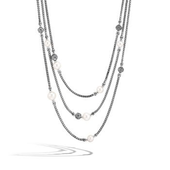 Classic Chain Multi Row Necklace in Silver with Pearl