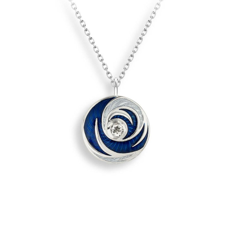 Nicole Barr Designs Blue Round Necklace.Sterling Silver-White Quartz