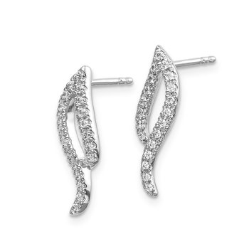 14k White Gold Diamond Wave Post Earrings