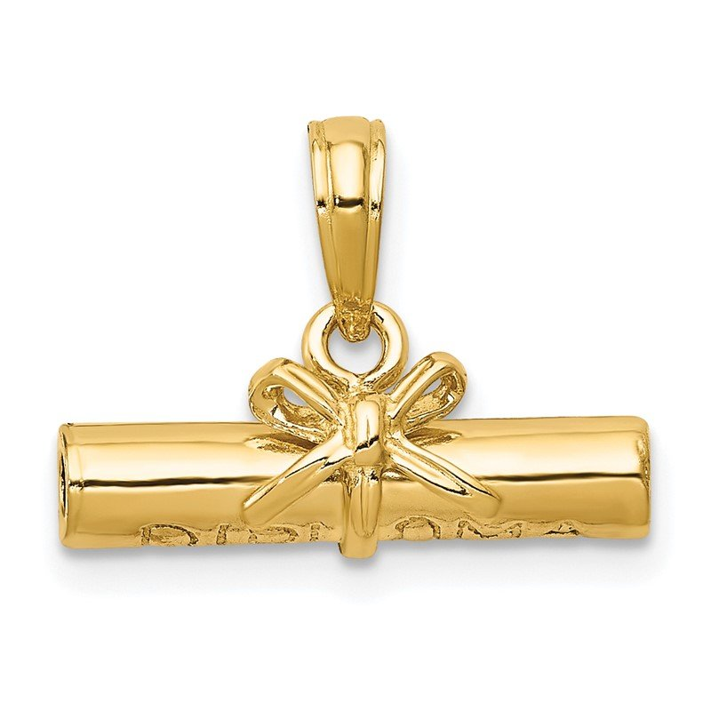Quality Gold 14k 3D Hollow Polished DIPLOMA Pendant