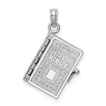 14k White Gold 3-D Holy Bible w/ Lord's Prayer Moveable Charm