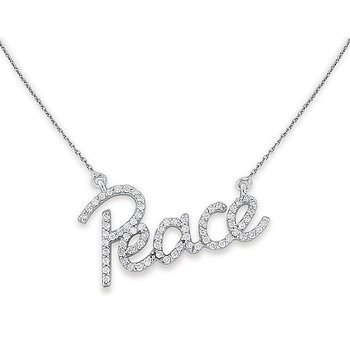 Diamond Peace Necklace in 14k White Gold with 72 Diamonds weighing .40ct tw.