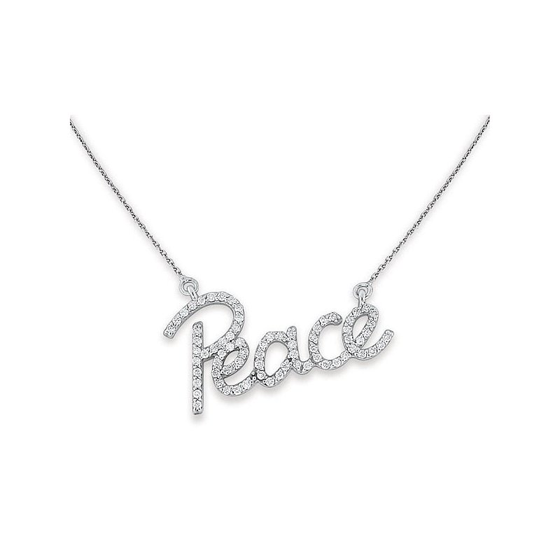 MAZZARESE Fashion Diamond Peace Necklace in 14k White Gold with 72 Diamonds weighing .40ct tw.