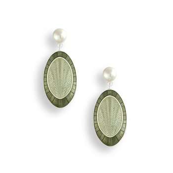 Green Oval Stud Earrings.Sterling Silver-Freshwater Pearls